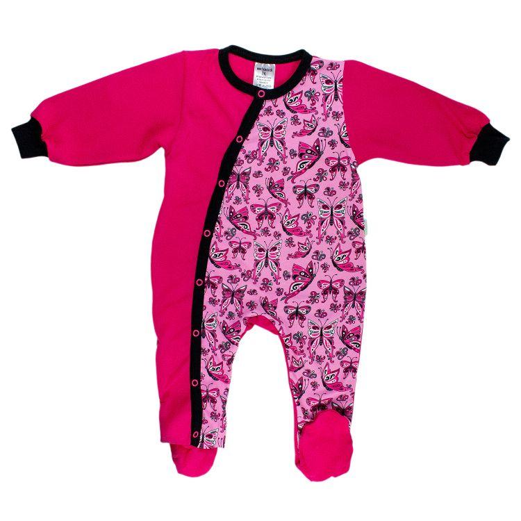 Strampler-Pepstyle PrettyButterflies-PinkAndBlack