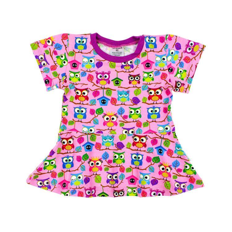 Kids-Kurzarm-Volantshirt - BabaubaHoots-Pink