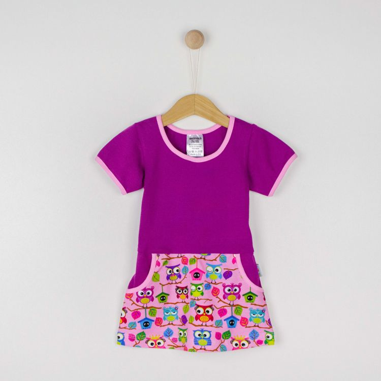 Kurzarm-PocketDress BabaubaHoots-Pink