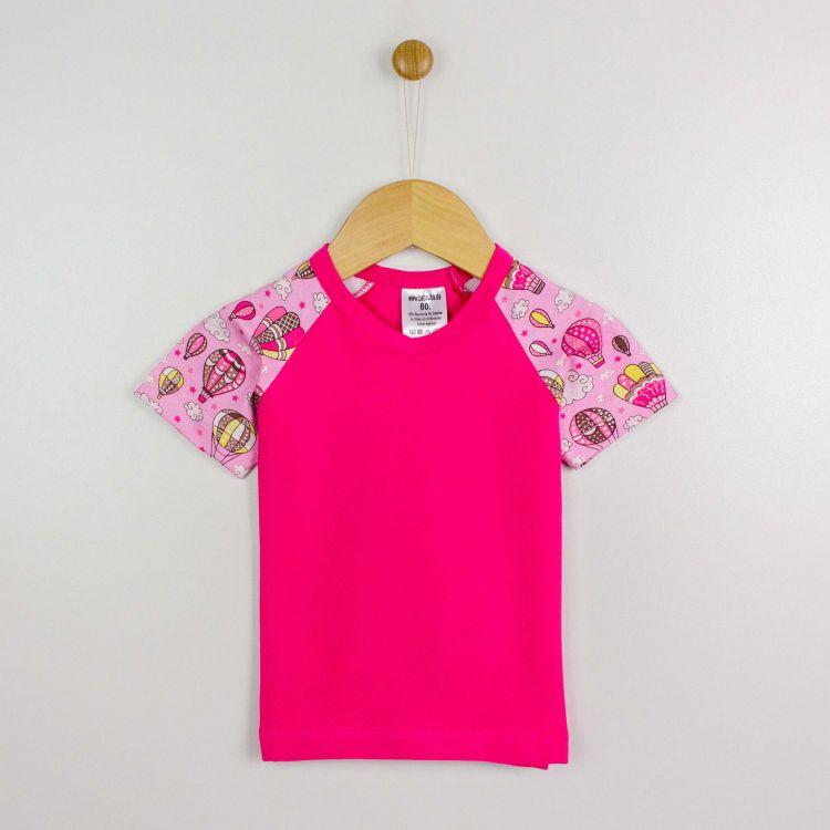 Kurzarm-Raglanshirt MontgolfiereBalloons-Pink