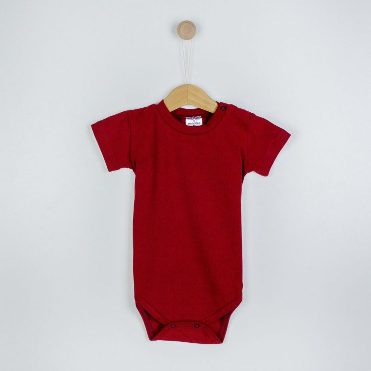 Baby-Uni-Kurzarmbody - Weinrot