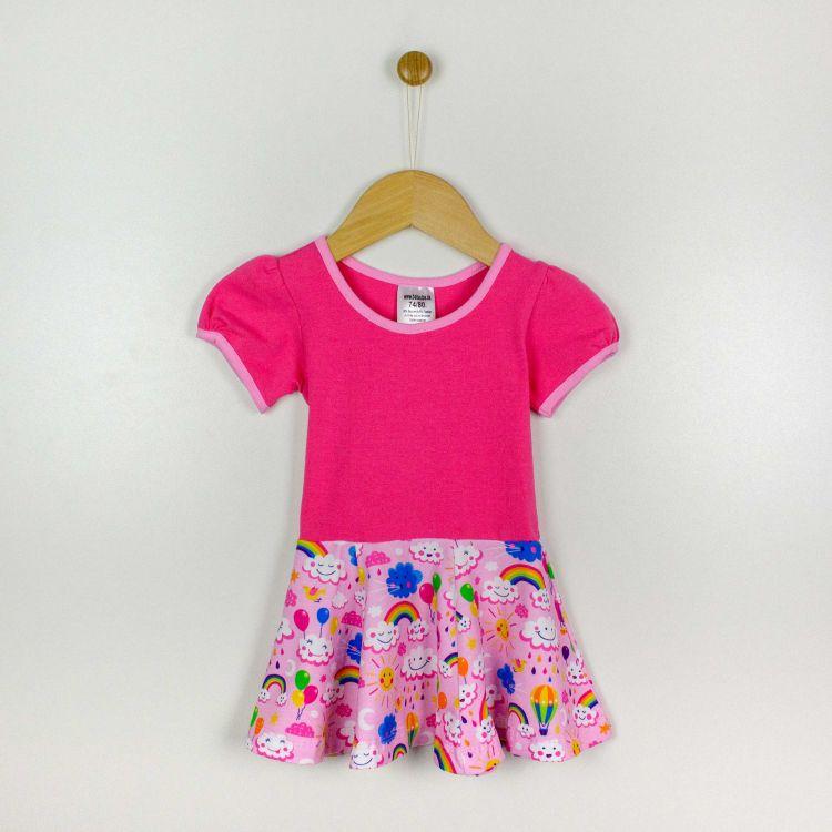 Kurzarm-Drehkleidchen RainbowsAndClouds-Pink