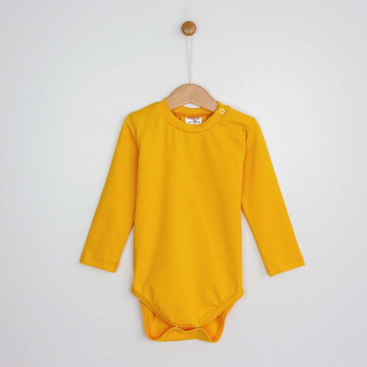 Baby-Uni-Langarmbody - Currygelb
