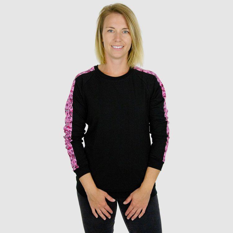 Woman-Pullover - PrettyButterflies-PinkAndBlack