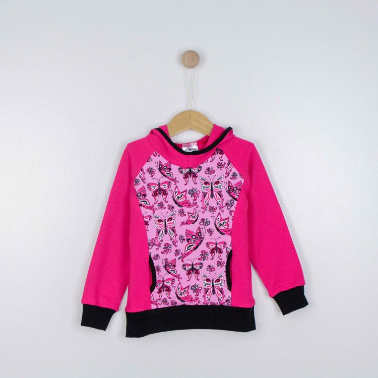 Kids-Hoodie-Shirt - PrettyButterflies-PinkAndBlack