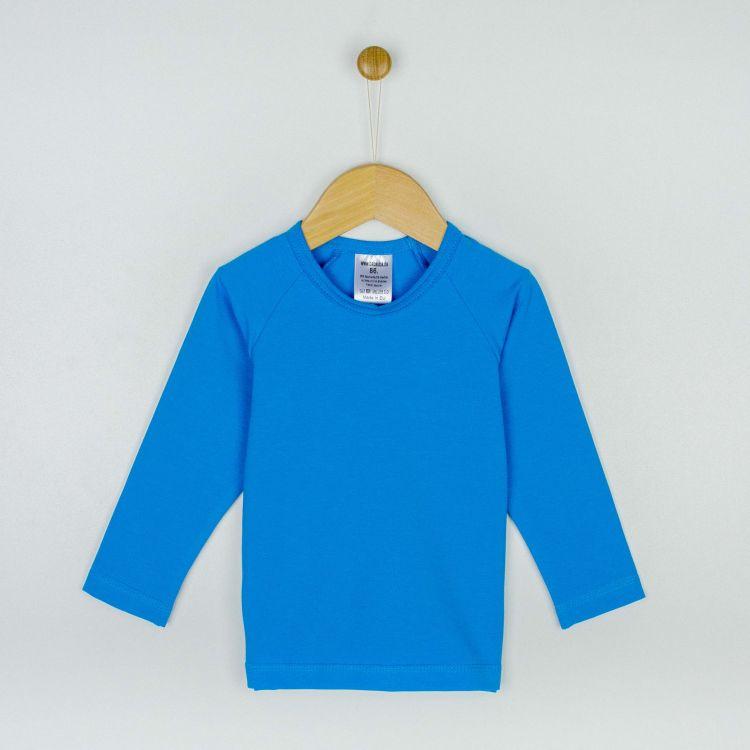 Uni-Langarm-Raglanshirt Türkisblau