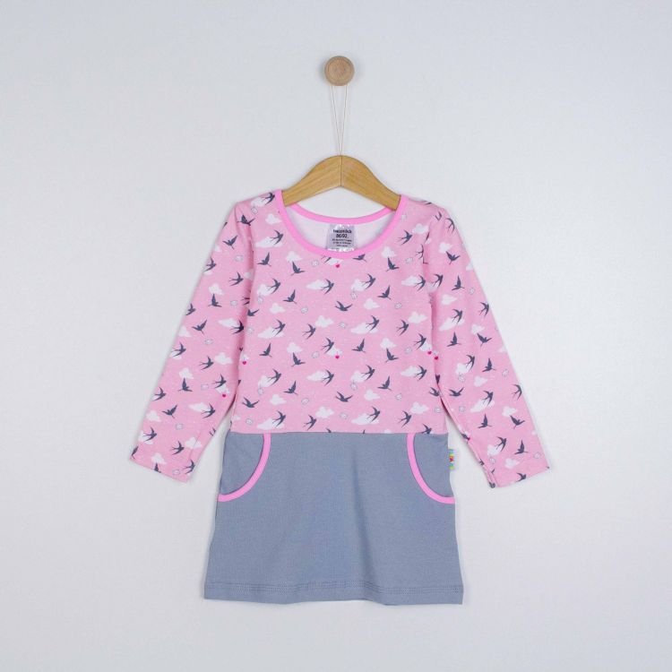 Kids-Langarm-PocketDress - LovelySwallows-Pink