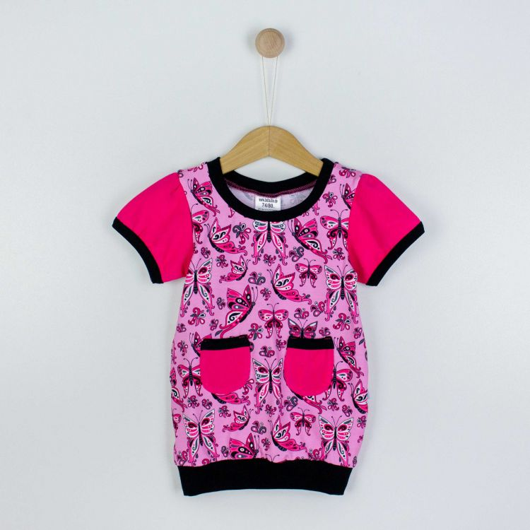 Kids-Ballonkleidchen - PrettyButterflies-PinkAndBlack