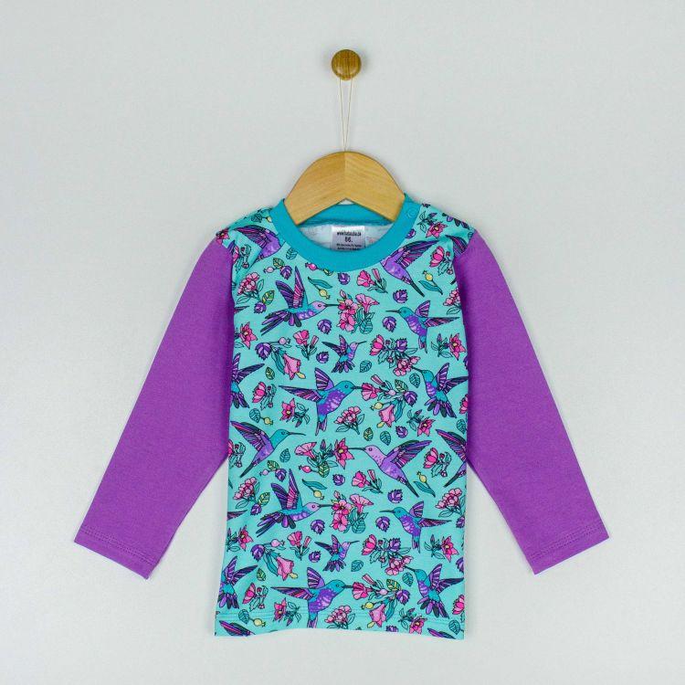 Kids-Langarmshirt - Hummingbirds-Blue