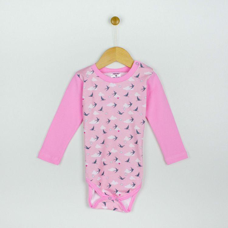 Baby-Langarmbody - LovelySwallows-Pink
