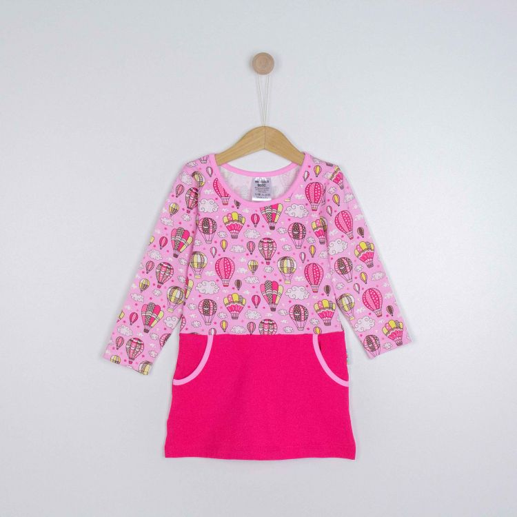 Kids-Langarm-PocketDress - MontgolfiereBalloons-Pink
