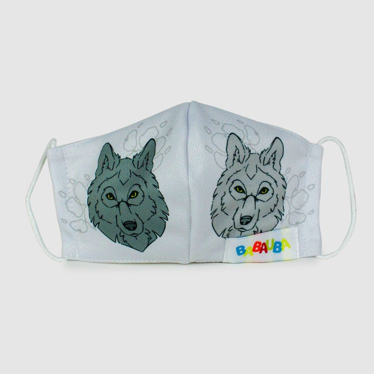 PrettyMask für Kinder - BlackWolf-Grey