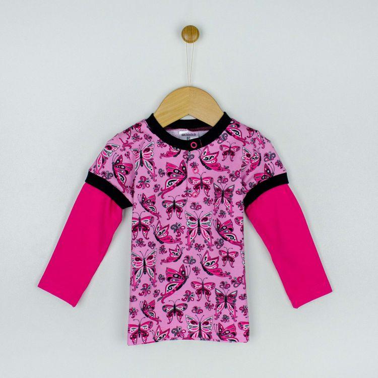 Langarm-T-Shirt PrettyButterflies-PinkAndBlack