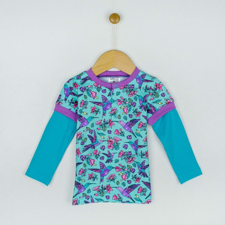 Langarm-T-Shirt Hummingbirds-Blue-TürkisgrünEdition