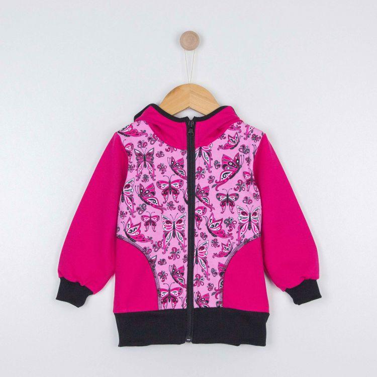 Kids-Hoodie CoolCut - PrettyButterflies-PinkAndBlack