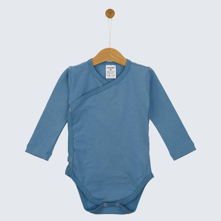 Baby-Uni-Wickelbody - Rauchblau