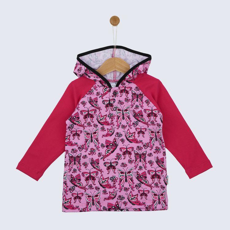 Langarm-Raglanshirt mit Kapuze PrettyButterflies-PinkAndBlack