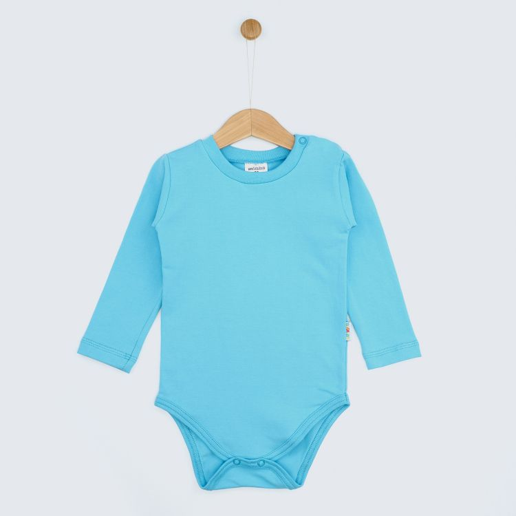 Baby-Uni-Langarmbody - Azurblau