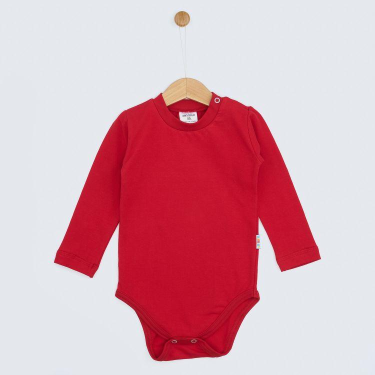 Baby-Uni-Langarmbody - Rot
