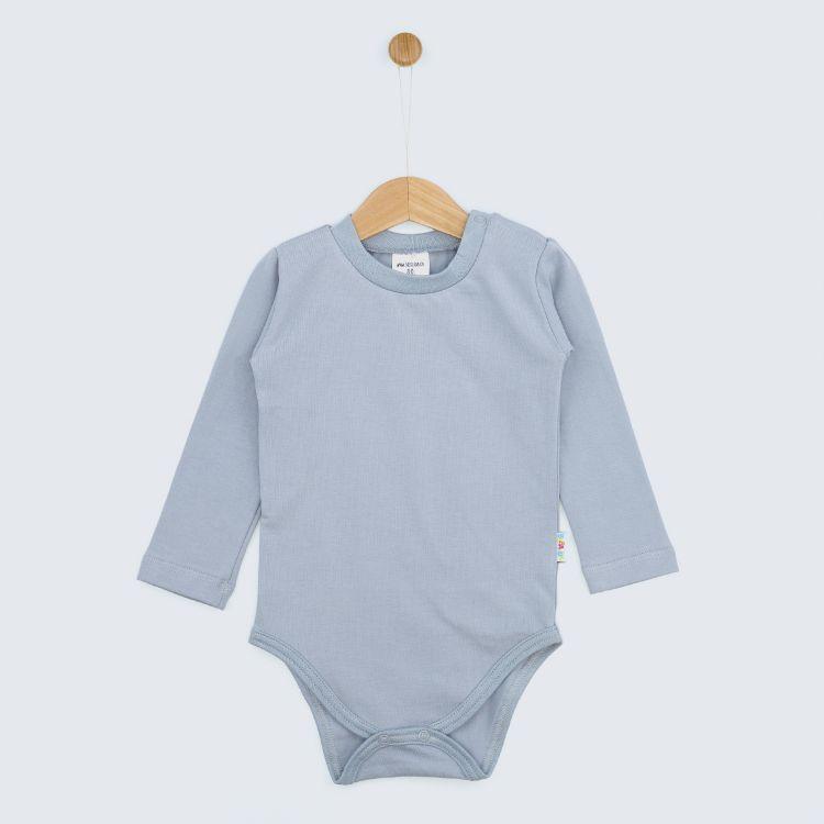 Baby-Uni-Langarmbody - Grau