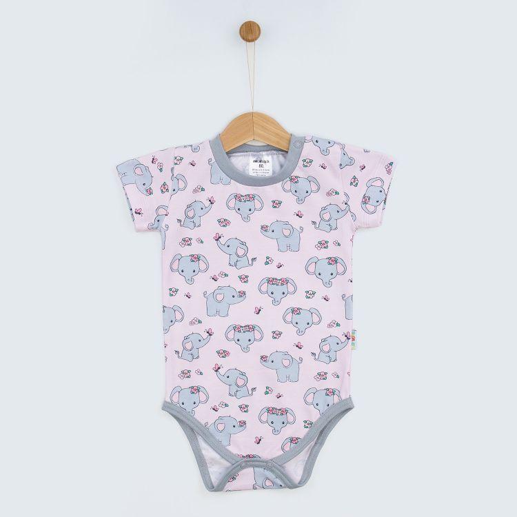 Baby-Kurzarmbody - CuteFlowerElephant