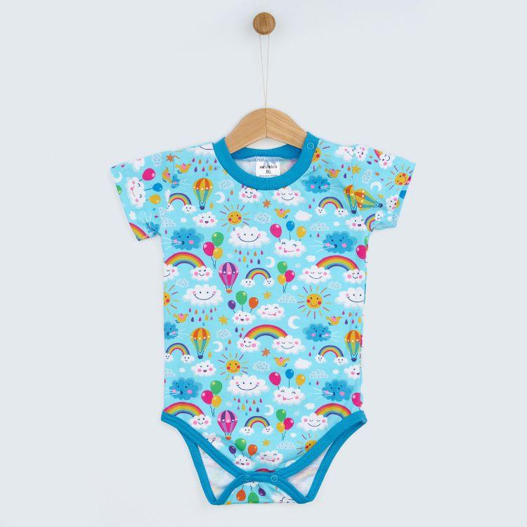 Baby-Kurzarmbody - RainbowsAndClouds-Blue