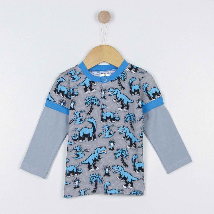 Langarm-T-Shirt Dinos-Bluegrey