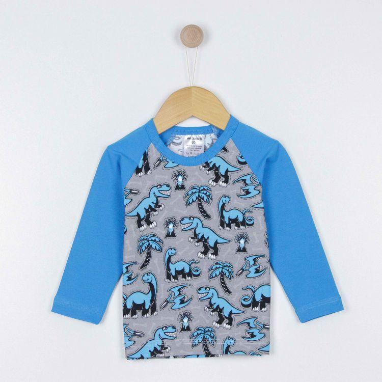 Baby-Langarm-Raglanshirt - Dinos-Bluegrey