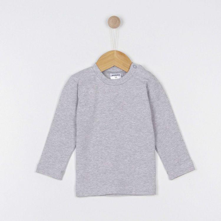 Baby-Uni-Langarmshirt - Grau-Meliert