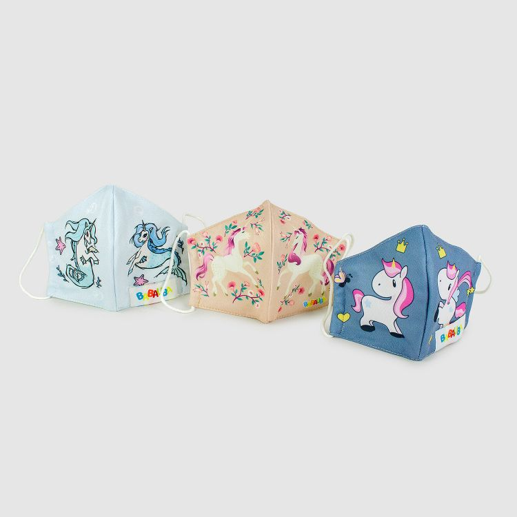 3er Set Masken für Kinder - Flower-/Sea-/ChubbyUnicorns