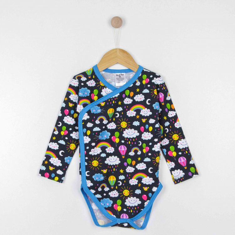 Baby-Wickelbody - RainbowsAndClouds-Black