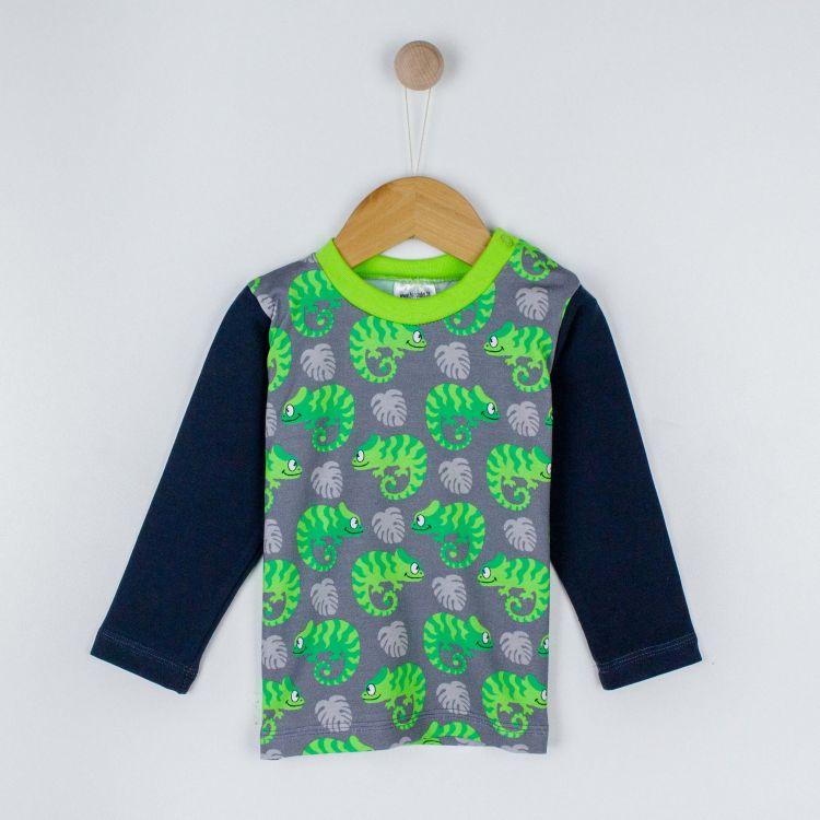 Kids-Langarmshirt - ExoticChameleons-Green