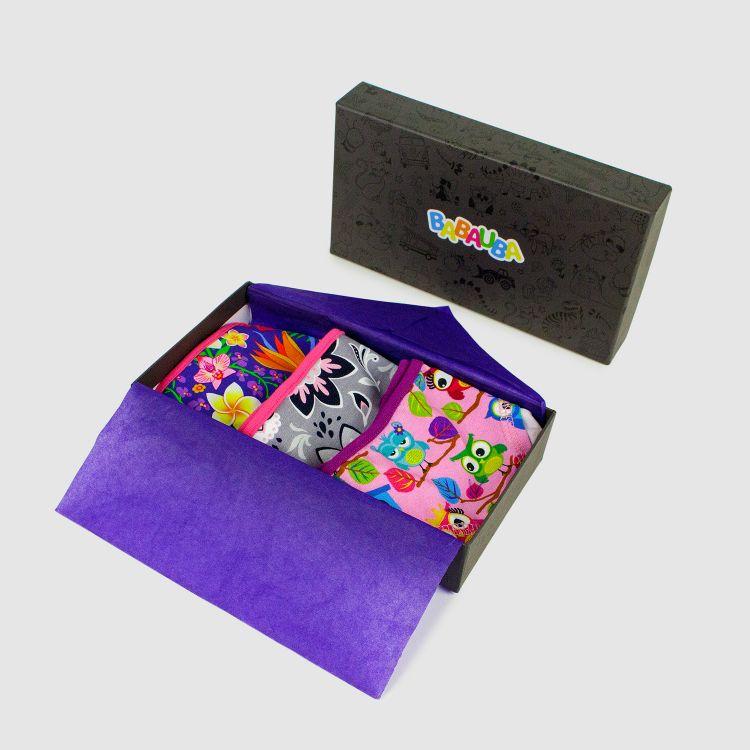 Geschenk 3er Set Kids-Underpants - Hawaii/Paisley/Hoots-Pink