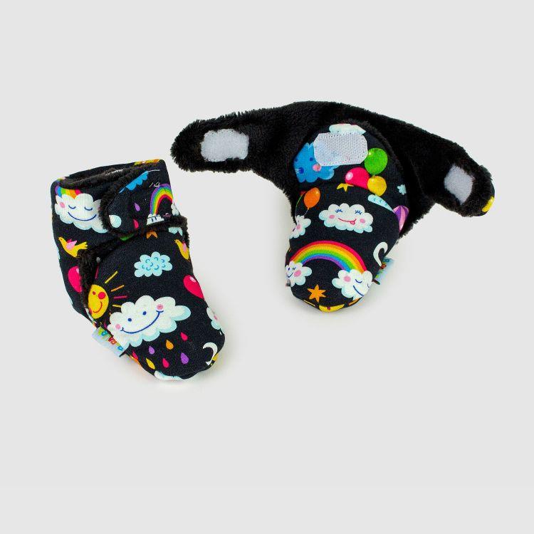 Booties RainbowsAndClouds-Black