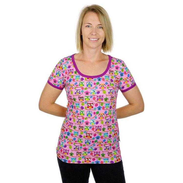 Woman-Shirt BabaubaHoots-Pink