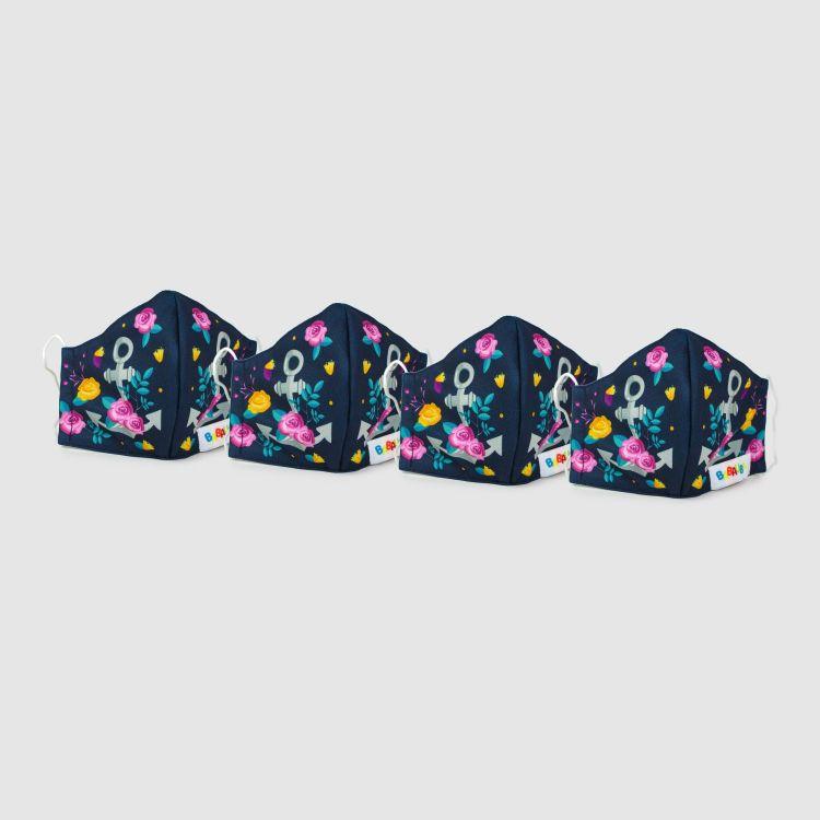 4er Set Masken für Erwachsene - RosesAndAnchors