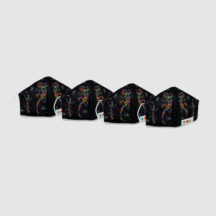 4er Set Masken für Erwachsene - DiamantSalamander-Black