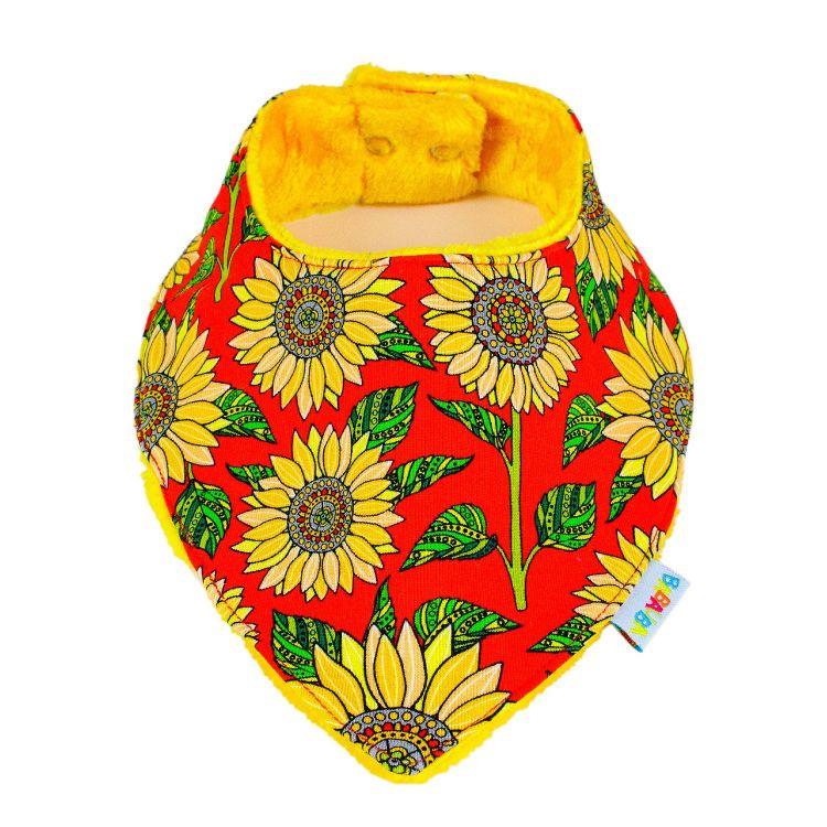 Kuschel-Dreieckstuch Sunflowers-Red
