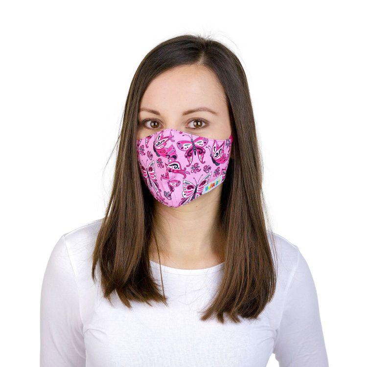 Mund- und Nasenmaske für Erwachsene mit Band - PrettyButterflies-PinkAndBlack
