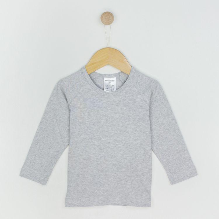 Uni-Langarm-Raglanshirt Grau-Meliert