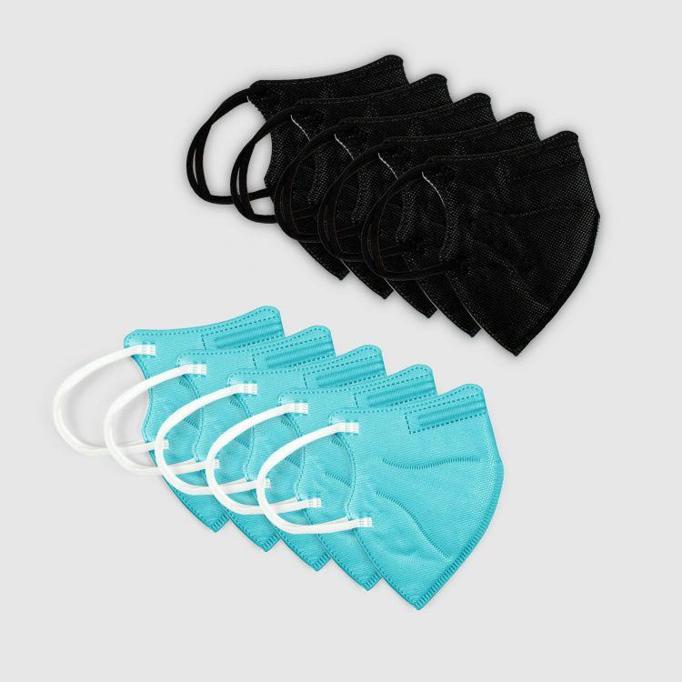 10er Set FFP2 Masken für Kinder - Schwarz/Türkisgrün