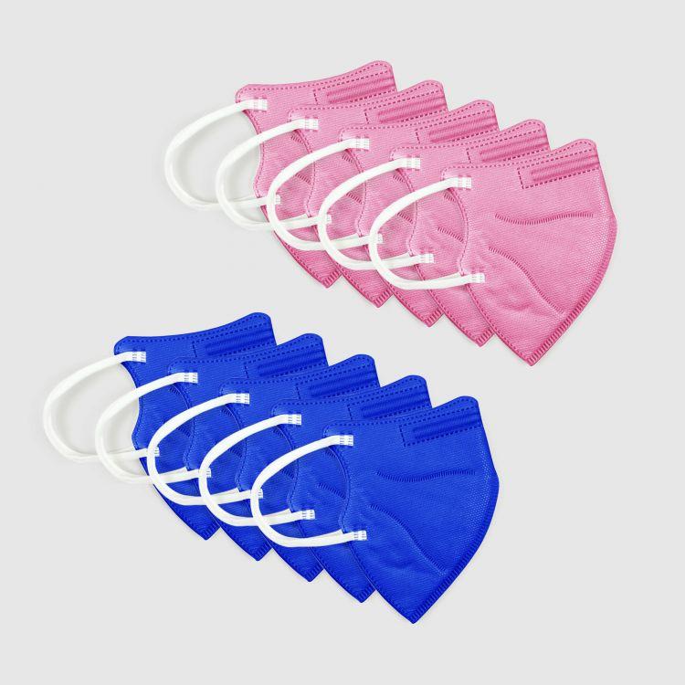 10er Set FFP2 Masken für Kinder - Königsblau/Rosa