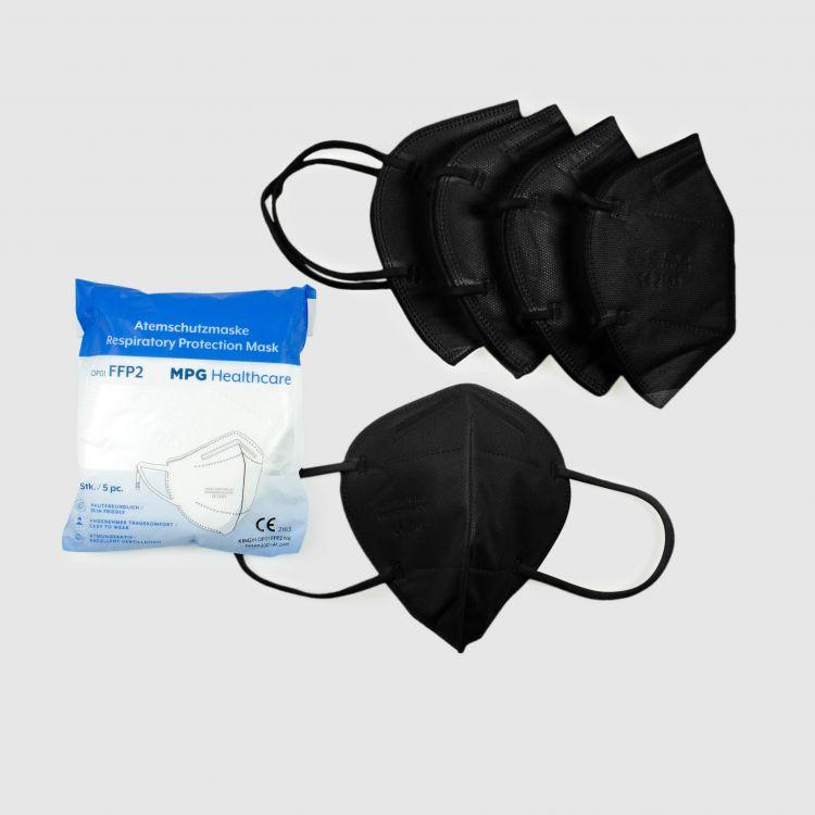 5er Set FFP2 Masken für Erwachsene Schwarz
