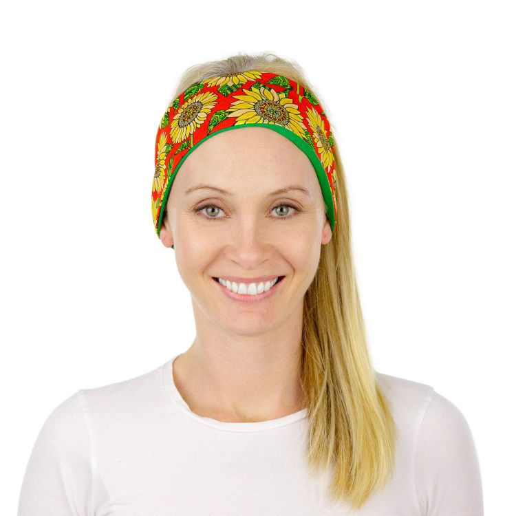 Woman-Stirnband - Sunflowers-Red