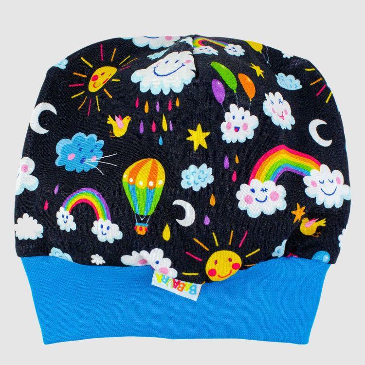 Baby-Beanie - RainbowsAndClouds-Black