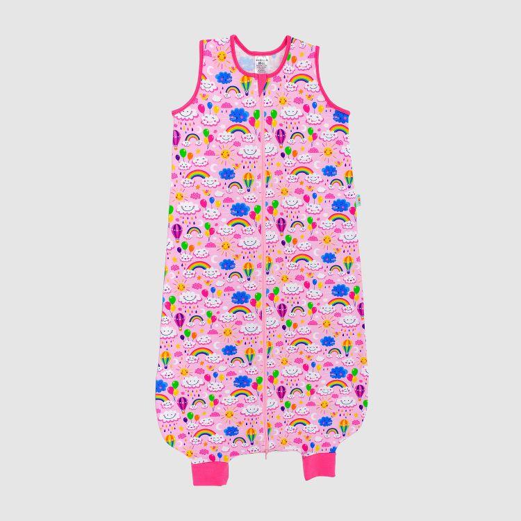 Füßchenschlafsack einlagig RainbowsAndClouds-Pink