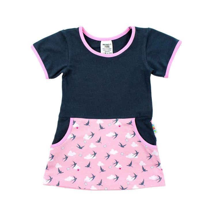 Kurzarm-PocketDress LovelySwallows-Pink