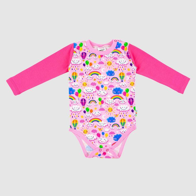 Baby-Langarmbody - RainbowsAndClouds-Pink
