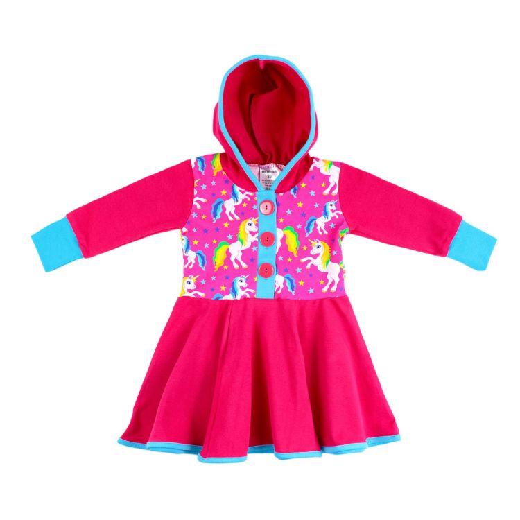 Langarm-Kapuzendrehkleidchen WonderfulUnicorns-Pink