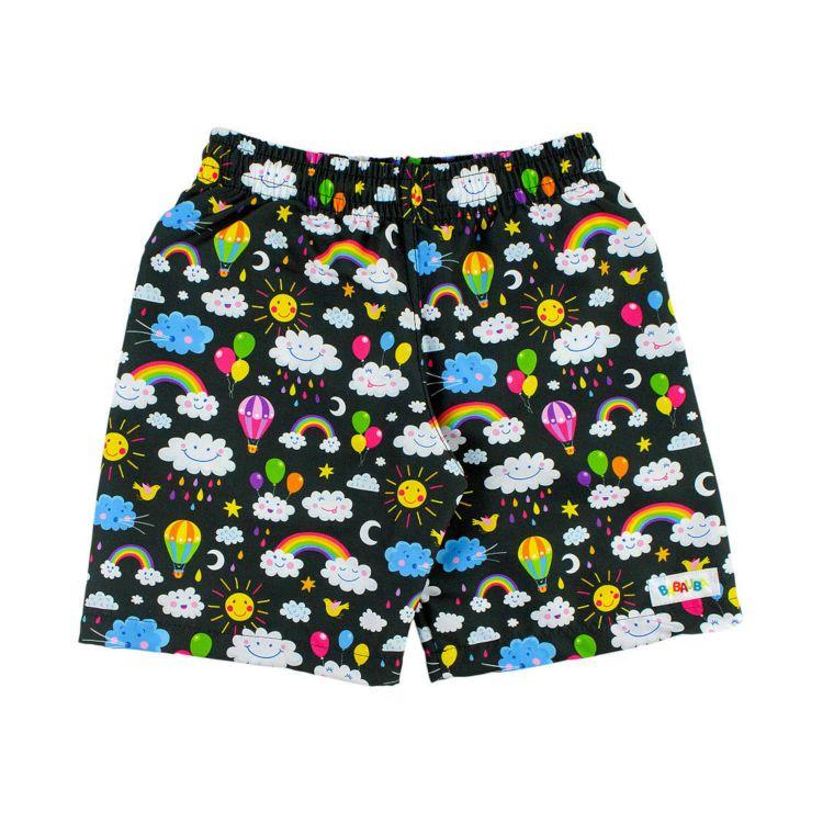 Baby-Swimshorts - RainbowsAndClouds-Black